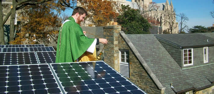 Rev. Scott Benhase. Above, Rev. Jered Weber-Johnson blesses rooftop solar panels, St. Alban's Episcopal Church